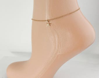 Gold Starfish Ankle Bracelet - Starfish Charm Anklet - Beach Themed