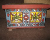 Antique hand painted dowry chest from Transylvania antique hand painted traditional Hungarian Romanian wooden chest medium size