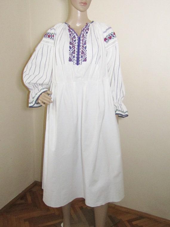 Vintage Romanian handmade ethnic dress from Transy