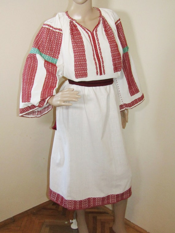 Vintage Romanian peasant dress hand woven , ethnic