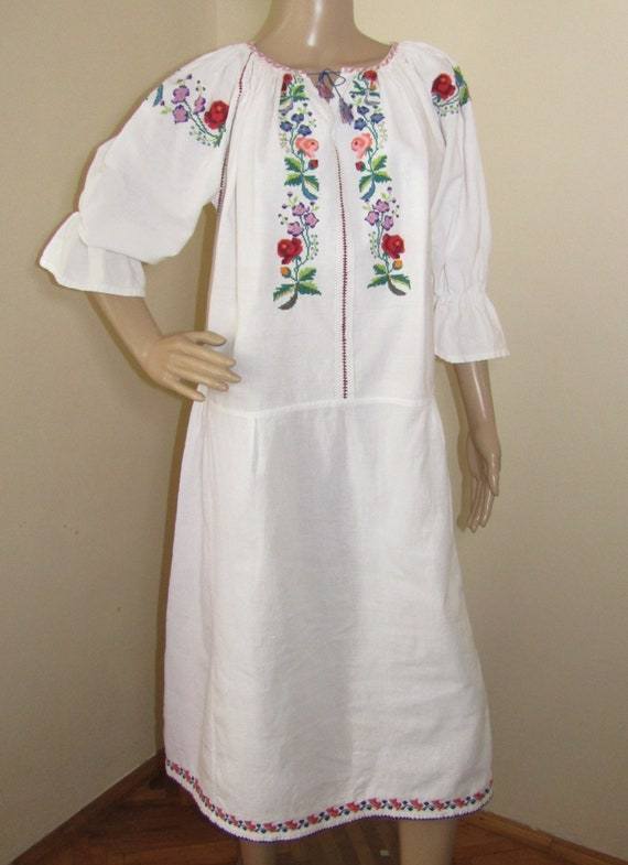 Vintage Romanian peasant dress hand stitched , eth