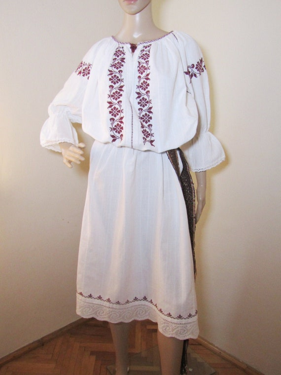 Antique Romanian peasant dress , ethnic Romanian c