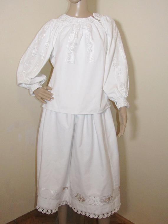 Antique Romanian peasant blouse dress, ethnic Roma