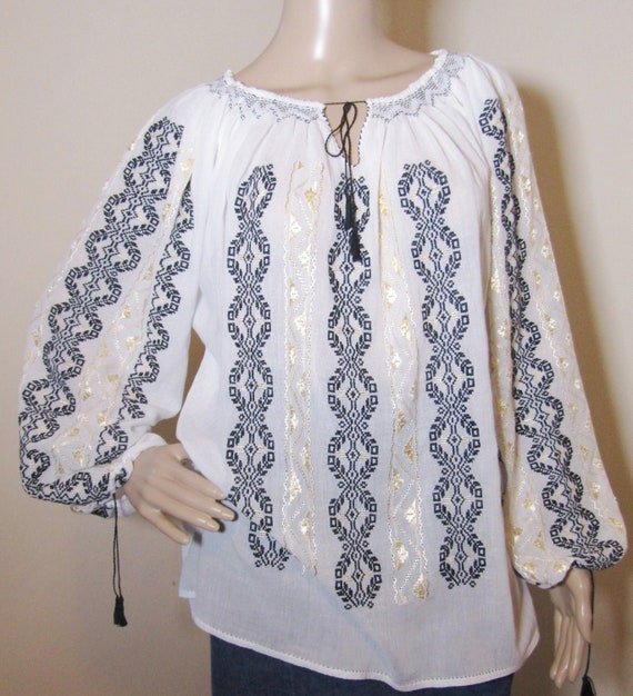 hand embroidered Romanian tunic IA Blouse Silver Fir