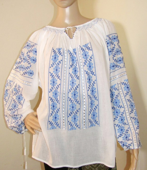 Romanian  top size M handmade ethnic top Hand embroidered Romanian peasant blouse traditional hand stitched Eastern European tunic