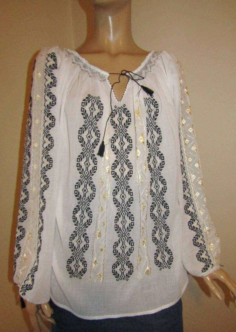 4f47e090c9d783 Hand embroidered Romanian blouse hand stitched ethnic top