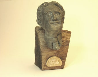 George Orwell --bust of the author in high density plaster - faux bronze on raw wood