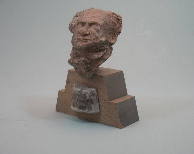 SCHOPENHAUER - Arthur Schopenhauer's bust - faux bronze on wood