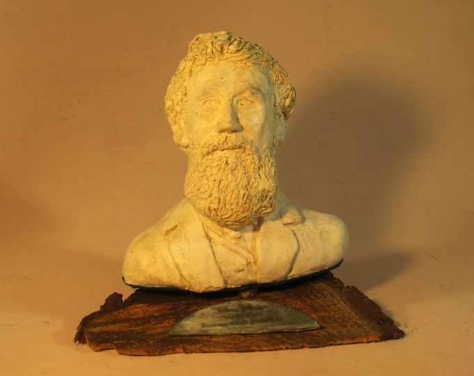 John Muir - Founder of the Sierra Club,  on hydrostone, bark base