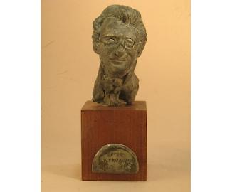Soren Kierkegaard - bust of Danish philosopher.  bronze patina