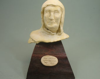 Luca Pacioli - father of accounting -antique white on wood base