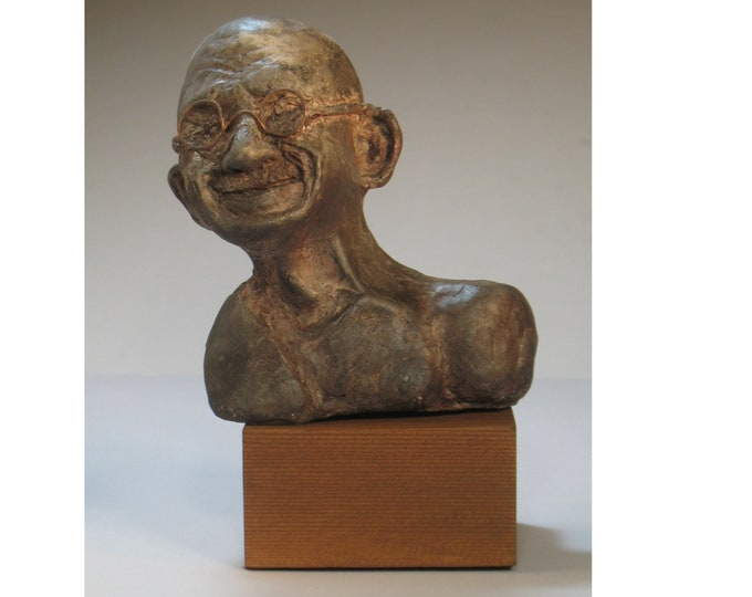 Gandhi Bust on wood base