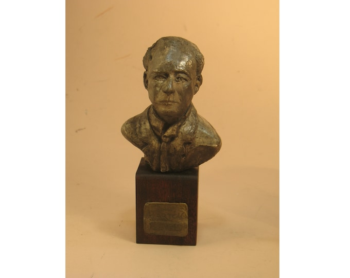 Bartok in a jacket and tie -bronze patina on wood