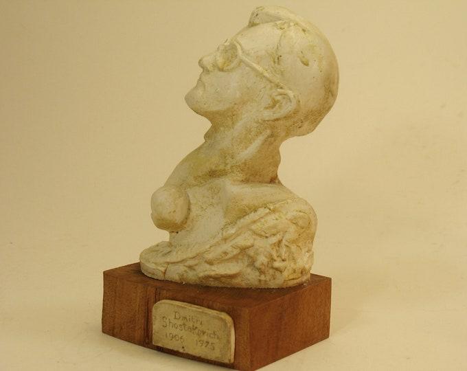 Shostokovich -bust of Dmitri Shostokovich on wood base