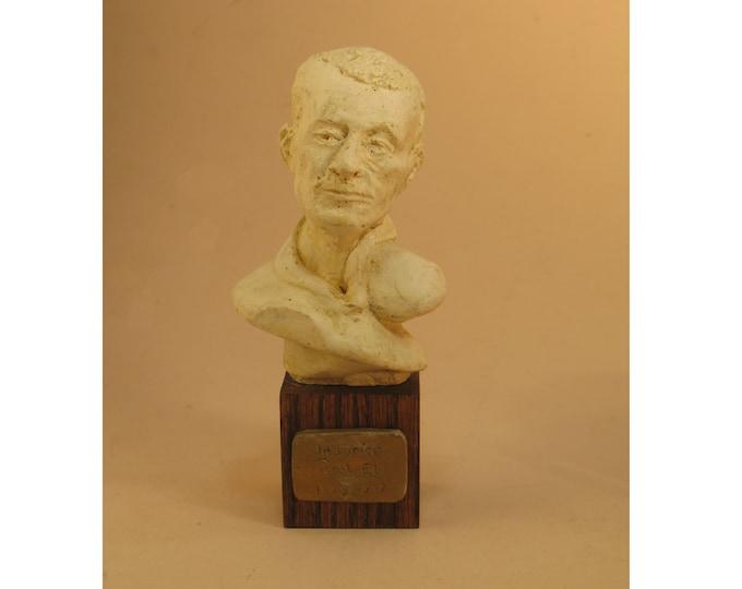 Ravel - bust of Maurice Ravel - antique white patina