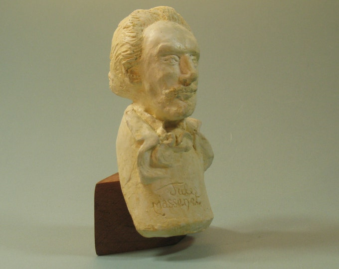 Jules Massenet - bust of composer in hydrocal with antique white finish