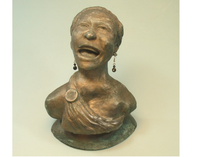 Aretha - bust tribute to Aretha Franklin  - hydrocal with bronze patina