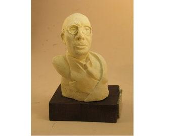Igor Stravinsky, bust on wood base- antique white