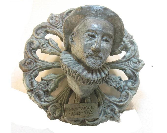 Montaigne Wall Plaque - bust of Michel de Montaigne high density plaster