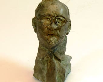 Norbert Wiener bust in hydrostone w bronze patina