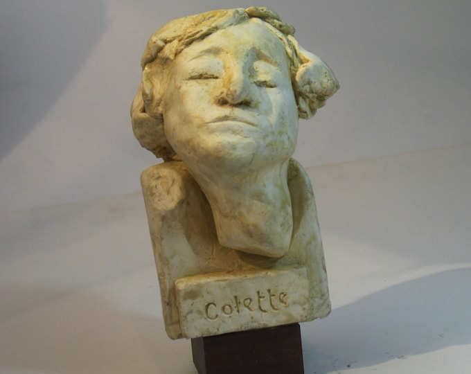 Colette - statuette of French author Colette in hydrostone, white