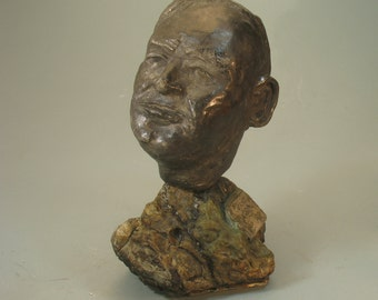 Clarence Darrow - bust on cast of fossil rock from PA coal region
