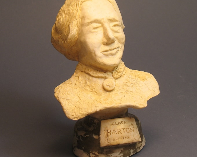 Barton, bust of Clara Barton - founder of the Red Cross in hydrastone plaster
