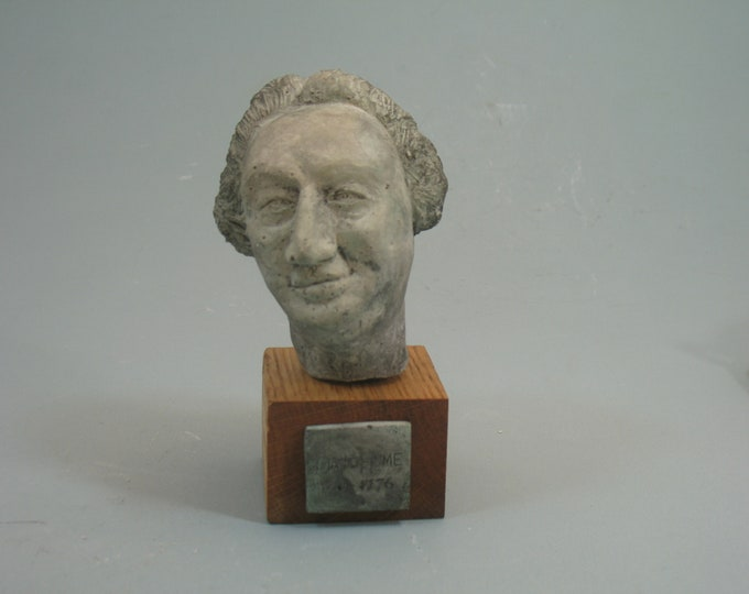 Hume - bust of the philosopher David Hume, antique white on wood base