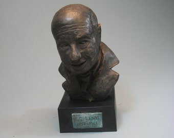 Lewis.  C.S.Lewis  - hydrostone with red bronze patina