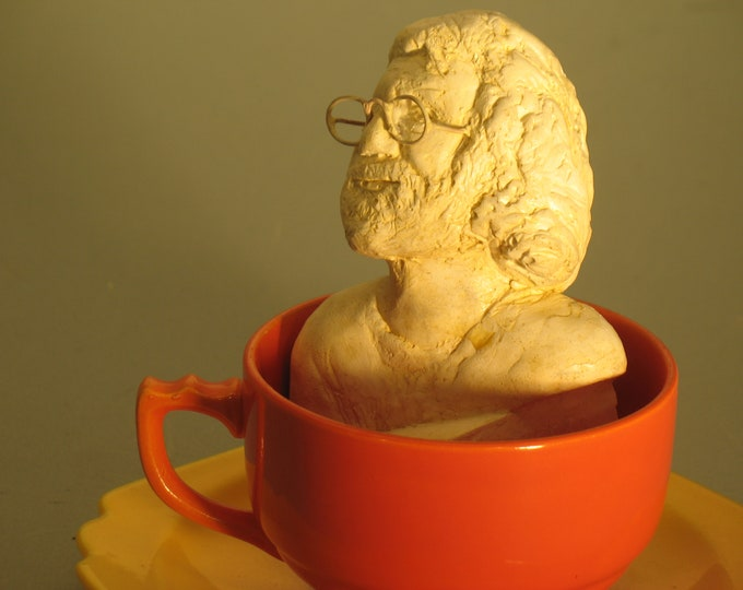 Jerry Garcia bust, antique white in hydrocal