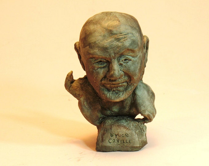 Coville - Bruce Coville, the Wizard of Whimsy bust in Orthocal with bronze patina