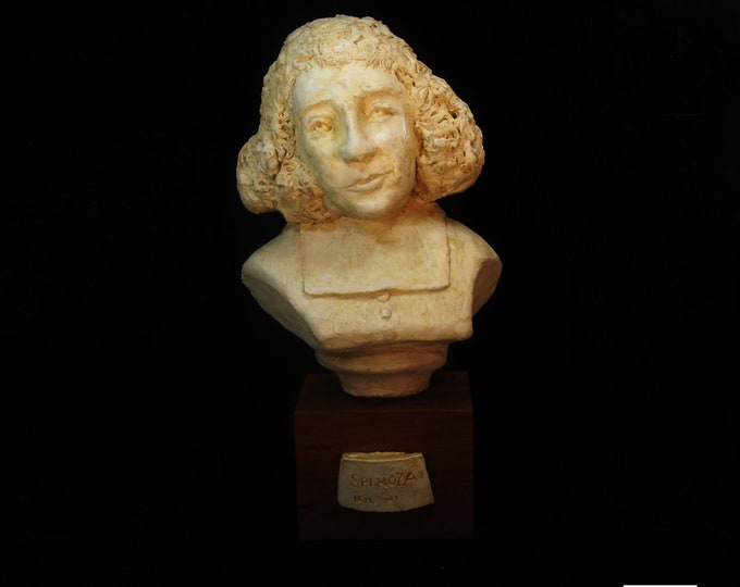 Spinoza, Benedict Baruch as a young man with Questions. Antique white on wood