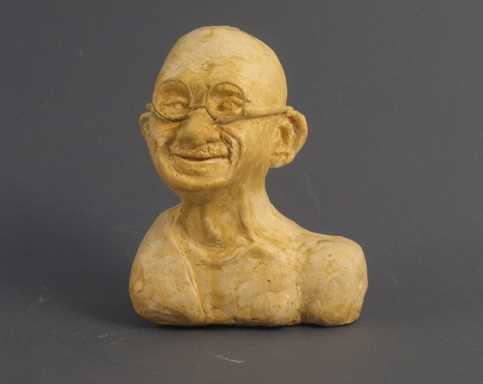 Gandhi Bust - hydrostone, white or bronze