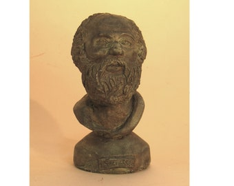 Socrates - copy of an ancient bust in hydrocal plaster with bronze patina