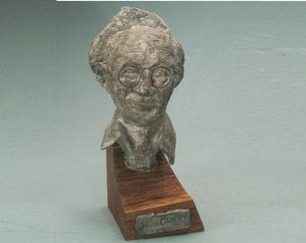 Chomsky - bust of Noam Chomsky with bronze patina.
