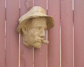 Waits, Tom Waits bas relieif head, cast resin