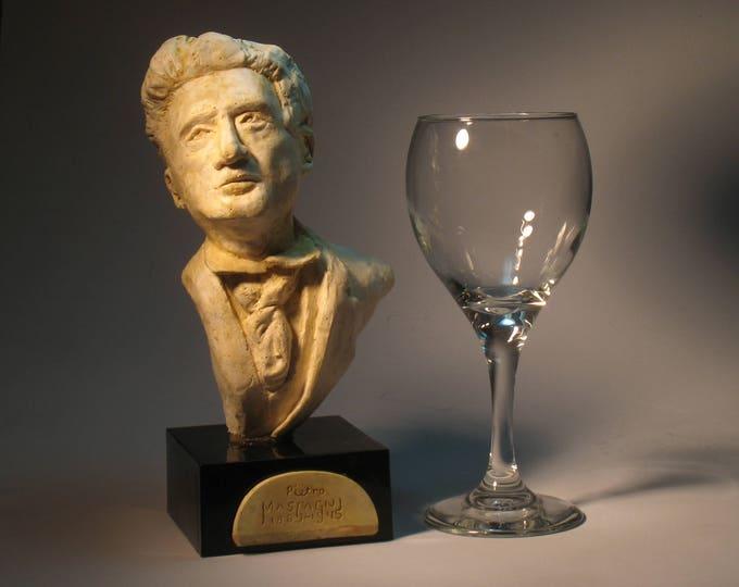 Mascagni, bust of Pietro Mascagni, hydrocal antique white