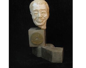 Ellington - Bust of Duke Ellington in hydrostone, antique white finish, 1940's era pine base