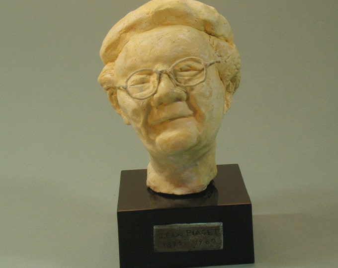 Piaget - bust of Jean Piaget, hydrostone with bronze patina