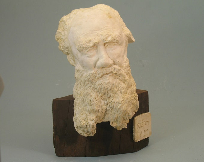 Tolstoy - bust of Count Lev Nikolaevich Tolstoy antique white on raw stump