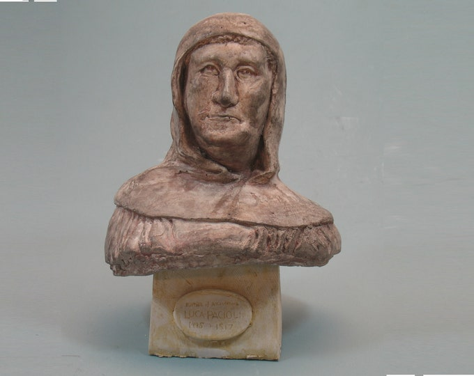 Luca Pacioli - father of accounting - hydrocal with bronze patina