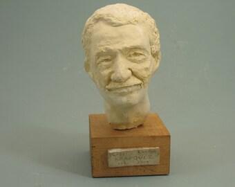 Gabriel Garcia Marquez, writer in hydrostone antique white finish on wood base