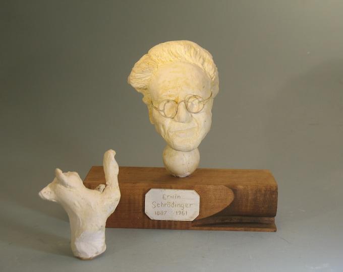 SCHRODINGER, Bust of physicist Erwin Schrodinger & movable cat