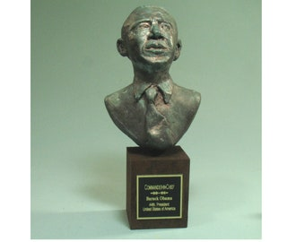 Barack Obama - hydrostone with antiqued bronze patina