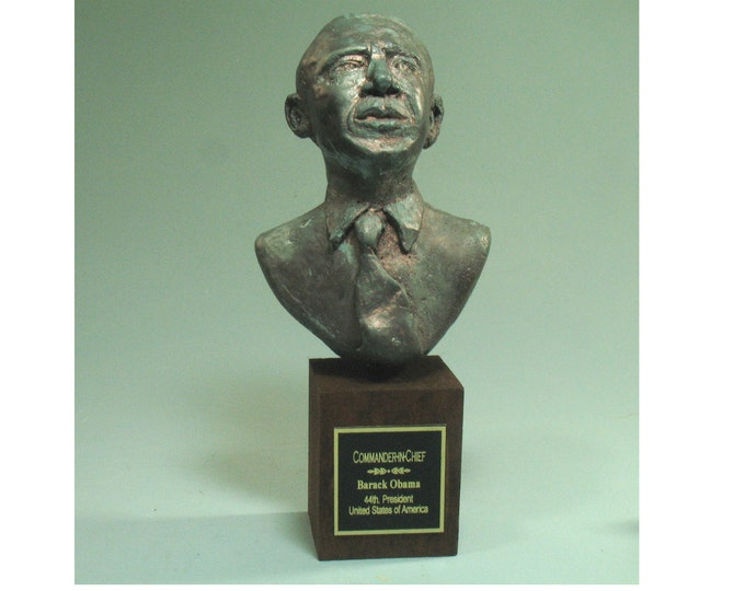 Barack Obama - hydrostone with antiqued bronze patina