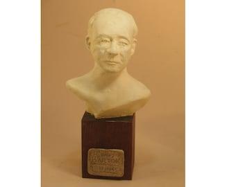 Bela Bartok, classical bust, white hydrostone on wood