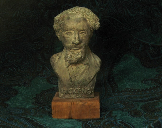 Charles Dickens bust - Bronze finish on wood base