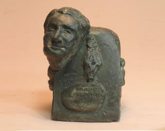 Lofting - bust of Hugh Lofting, father of Dr. DoLittle in orthocal with bronze patina