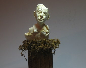 Geisel. Bust of Theodore Seuss Geisel -Hydrocal antique white finish