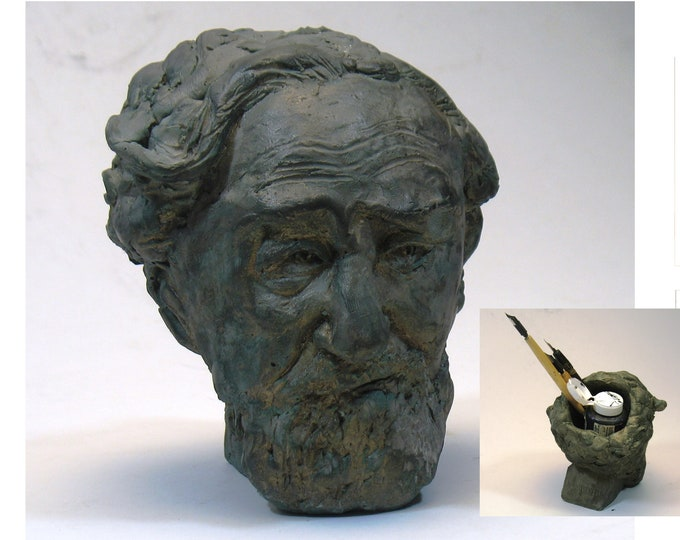 Hirschfeld India Ink holder - Al Hirschfeld bust for the cartoonist-at-large  WHITE or BRONZE patina